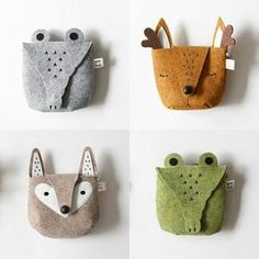 Fox Bag Doll Accessories Sewing For Kids Diy For Kids Toddler Boy Gifts Baby Couture Sewing Crafts Sewing Projects Felt Fabric Felt Diy, Felt Crafts, Kids Crafts, Clay Crafts, Fabric Crafts, Felt Pouch, Animal Bag, Kids Bags, Handmade Toys