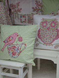 Love the birdie dunking tea pillow! GreenGate Cushion Covers 2011