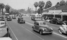Looking west on Wilshire Boulevard at Alvarado, 1940