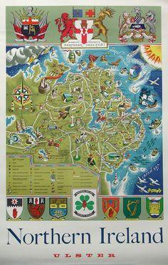 Northern Ireland Tourist Map, c. 1950