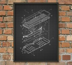 Keyboard Schematic Diagram Patent Wall Art Poster