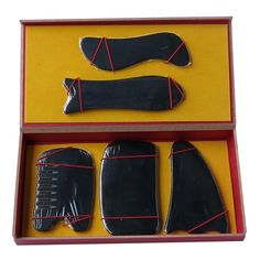 26.50$  Watch here - New Arrival Good quality 100% Natural black ox horn comb guasha plate fish and S shaped  5pcs/set face body massage 0030  #magazineonline