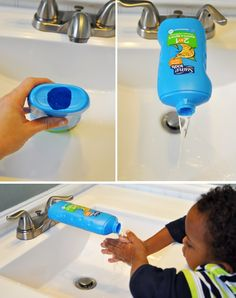 Help your little party goers wash their hands. Make a sink extension from a suave shampoo bottle for your Green the Game bash with @UnileverUSA #sponsored