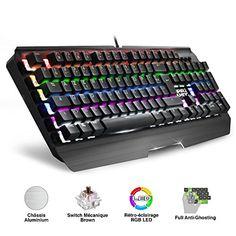 EMPIRE GAMING Clavier Gamer LED RGB Mécanique Switch Marron Empire K2100 / Clavier Full Anti-Ghosting et NKRO 6 Touches / Rétro-éclairage LED RVB : 9 Modes prédéfinis + 8 Modes Player + 2 modes personnalisable/ Luminosité réglable / Mode Gaming : touche Windows® désactivable / 11 raccourcis multimédia Châssis alluminium noir équipé de 105 touches mécaniques / Repose-poignets. #EMPIRE #GAMING #Clavier #Gamer #Mécanique #Switch #Marron #Empire #Full #Anti #Ghosting #NKRO #Touches #Rétro…
