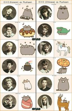 Amazing they used Pusheen and EXO together! I don't know who made this but I love you!