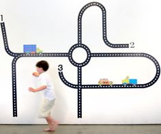 This roadway fabric wall decal from @popandlolli  would delight any car-loving boy (or girl) in a kids room or playroom!