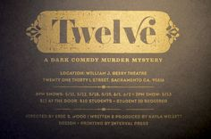 12 (Twelve) is a dark comedy murder - By Kyle Marks - Graphic Design Retro Vintage Typography - kylemarksdesign.com