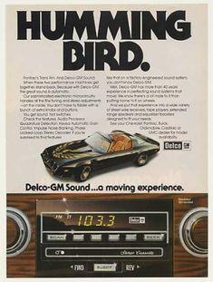 Pontiac Trans Am Humming Bird GM Delco Sound Lol what a change! Firebird Formula, Pontiac Firebird Trans Am, Pub Vintage, Smokey And The Bandit, Pontiac Cars, Car Advertising, Us Cars, Vintage Advertisements, Car Pictures