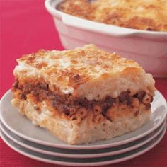 Bechamel... This is kind of a Middle Eastern twist on a pasta casserole dish. It can be made with ground beef or chicken or even vegetarian with eggplant. I would suggest making the bechamel sauce from scratch, but if you are in a hurry you can buy it pre-packaged as well.