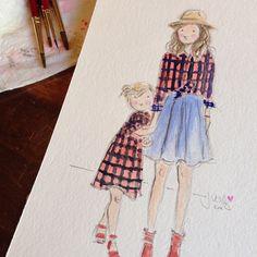 Custom watercolour portraits from Sophie & Lili via @babyccinokids