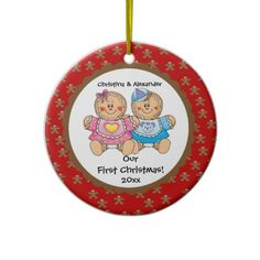 Gingerbread Twins Babys First Christmas Ornament