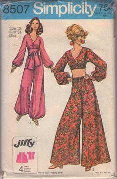 Simplicity 8507 Vintage 60's Sewing Pattern FOXY Boho Hostess Jiffy I Dream of Jeannie Cropped Genie Top, Palazzo or Bubble Leg Harem Pants, Sash Belt #MOMSPatterns