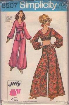 Simplicity 8507 Vintage 60's Sewing Pattern FOXY Boho Hostess Jiffy I Dream of Jeannie Cropped Genie Top, Palazzo or Bubble Leg Harem Pants, Sash Belt #MOMSPatterns