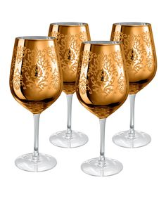 Love this Gold Brocade Goblet - Set of Four by Artland on #zulily! #zulilyfinds