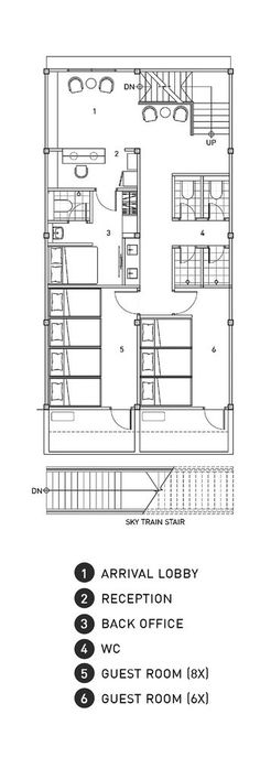 Gallery of Adventure Hostel / Integrated Design Office & 25 Adventure Hostel,First Floor Plan The post Gallery of Adventure Hostel / Integrated Design Office & 25 appeared first on Travel. Dorm Design, Hotel Room Design, Hotel Floor Plan, Capsule Hotel, Bunk Rooms, Hotel Reception, Ground Floor Plan, Dormitory, Designer