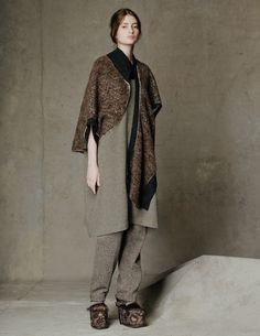 Jacquard Knit Vest/ Wool Crepe Dress with Leather/ Herringbone Pant