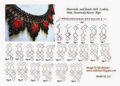 Beadwork step by step.MalaBead: Model 1 of Pin was discovered by Liz Diy Necklace Patterns, Beaded Jewelry Patterns, Free Beading Tutorials, Beading Patterns Free, Necklace Tutorial, Seed Bead Jewelry, Loom Beading, Bead Weaving, Beaded Flowers