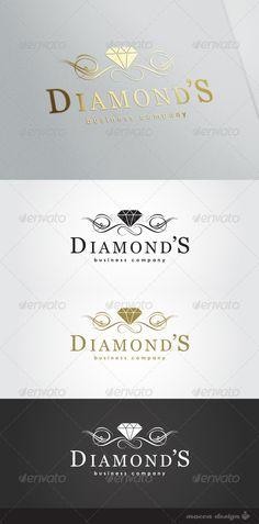 Buy Diamonds Logo by MoccaDesign on GraphicRiver. - All fonts of the logo changed to Free fon. 2 Logo, Typography Logo, Business Card Logo, Business Card Design, Logo Circular, Diamond Logo, Denim And Diamonds, Crystal Logo, Luxury Logo