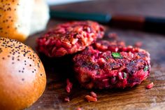 NYT Cooking: Beet, Rice and Goat Cheese Burgers 2 cups cooked brown or white rice 1 cup finely diced or grated roasted beets ¼ cup chopped fresh herbs, like a mixture of parsley and dill 1 15-ounce can white beans, drained and rinsed 1 tablespoon fresh lemon juice 1 egg 2 ounces goat cheese, crumbled  Salt and freshly ground pepper 2 tablespoons extra virgin olive oil or canola oil, as needed
