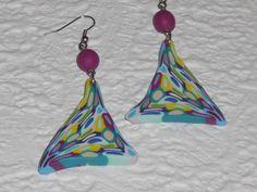 Ohrhänger - Ohrhänger Dreieck purpurviolett-bunt - ein Designerstück von iCo-Design bei DaWanda