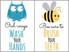 Organize kids' essentials for the bathroom by going vertical! Create a functional and organized wall in your kids' bathroom featuring free printable signs.