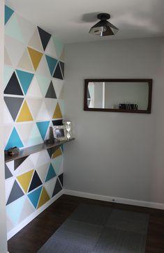 entry, wallpaper alternative, stenciled wall
