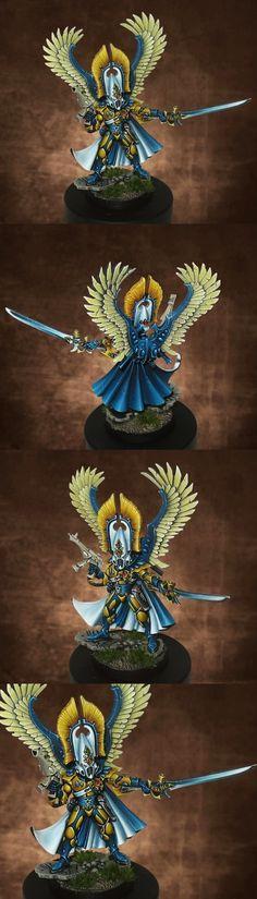 Craftworld Iyanden Autarch. Wargear: suriken-pistol/power-sword, banshee-mask, swooping-hawk wings, mirror-shield.