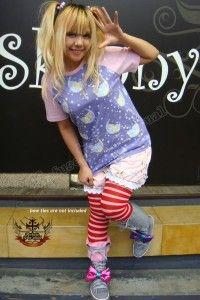 #Kawaii #Cute #Punk #Grey & #Pink #KneeHigh #HiTop #Boots #Sneakers