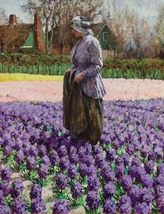 A Field of Hyacinths, Holland, c. 1890s, by George Hitchcock (American…