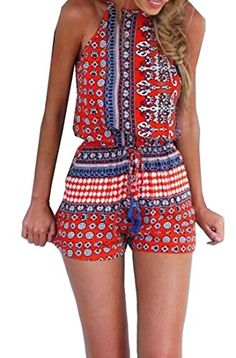 Abetteric Womens Fashion Sexy Print Backless Sleeveless Short Pants Red S * To view further for this item, visit the image link.