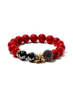 Red Jade, Hematite, & Gold Skull