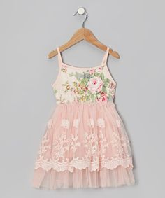 Take a look at this Designer Kidz Peach Floral Lace A-Line Dress - Infant, Toddler & Girls on zulily today!