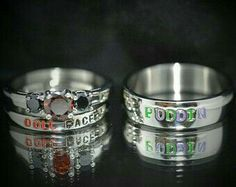 Perfection. Harley Quinn and Joker rings.