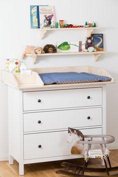 Wickelaufsatz 80 cm Breite mit zusätzlichen Fächern für Babyprodukte auf Ikea Hemnes Kommode