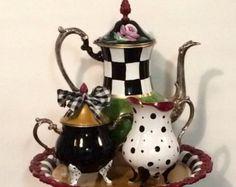 Painted Tea Set // painted Silver Tea Set // Whimsical Painted Tea Set hand painted home decor - Tea Set - Ideas of Tea Set - Painted Tea Set // painted Silver Tea Set // by paintingbymichele Mackenzie Childs Inspired, Mckenzie And Childs, Silver Tea Set, Tea Service, Custom Paint, Painted Furniture, Tea Party, Whimsical, Tea Cups