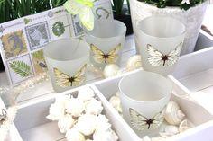 SET 4 Votivgläser 4 Votivkerzen Votivglas Schmetterling Frühling Tischdeko…
