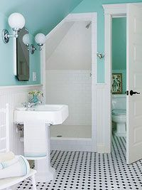 Another thing we love this season is accent walls! This light turquoise paint is the perfect color to help jazz up this simple, yet sophisticated bathroom.