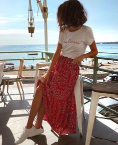 spring style summer fashion red maxi floral skirt white slogan tshirt casual is part of Fashion - Mode Outfits, Casual Outfits, Fashion Outfits, Winter Outfits, Long Skirt Outfits For Summer, Maxi Skirt Outfit Summer, Spring Dresses, Summer Clothes, Summer Beach Outfits