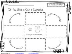 Circle Story Map for If You Give a Cat a Cupcake, also has activities for Moose/Muffin and Pig/Pancake {FREE}