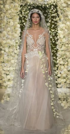 It's Day Three of our look at the best collection from Bridal Fashion Week, today we're looking at one of the most acclaimed collections, Reem Acra Bridal. Weird Wedding Dress, 2015 Wedding Dresses, Bridal Dresses, Wedding Gowns, Crazy Wedding, Dresses Dresses, Boho Wedding, Reem Acra Bridal, Bridal Fashion Week