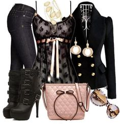 Black jeans, black trench coat, blouse, high heel boots and handbag for fall