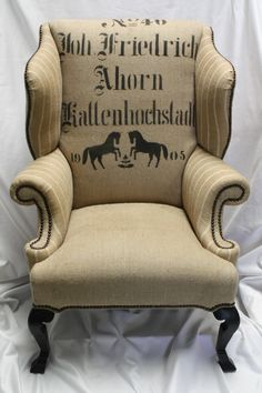 Really like this german grain sack inspired wing chair - the double horse design is right up my alley