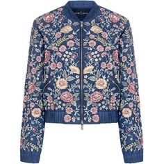 Needle & Thread - Sundaze Floral Embroidered Denim Bomber Jacket (8,690 MXN) ❤ liked on Polyvore featuring outerwear, jackets, flight jacket, bomber style jacket, blue jackets, blue denim jacket and floral embroidered denim jacket