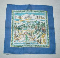Vintage SOUVENIR Hanky Pennsylvania Turnpike by unclebunkstrunk, $32.99