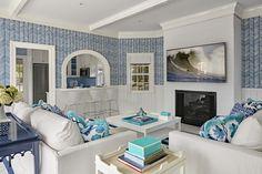 Alan Campbell Zig Zag wallpaper with Potalla pillows. Interior design by Davenport North.