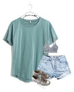 """""""I need a necklace like this lol"""" by madison426 ❤ liked on Polyvore featuring Madewell, Converse and American Eagle Outfitters"""