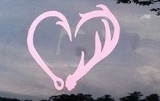 Deer Antler and Fish Hook Heart Decal by CountryCottageGC on Etsy
