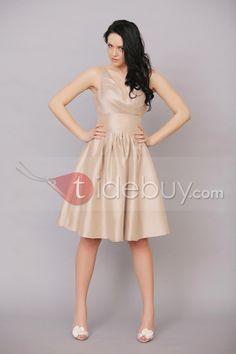 綺麗なAラインv-ネック膝丈までのルーシュブライズメイドドレス