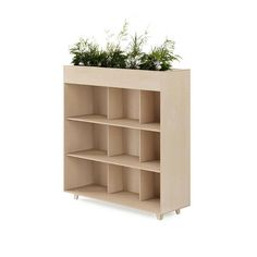 Add a splash of green to your workplace with the Fin Bookshelf Planter. Place it up against a wall or use it to create a natural divide; its height provides a sense of privacy when seated while maintaining an open feel in your workplace. Wall Bookshelves, Workplace, Shelving, Divider, Planters, Wood, Interior, Design, Home Decor