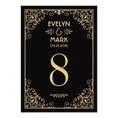 Wedding Table Number Cards | Art Deco Style Custom Invite
